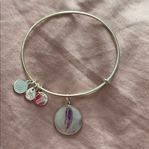 Alex and Ani with purple feather charm - silver